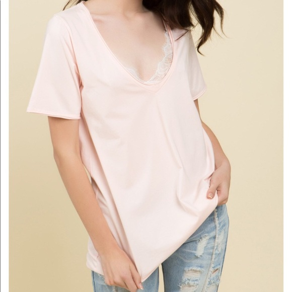 77f13ffc501156 Desired Collection Tops | 2left Deep V Neck Cotton T Pink | Poshmark